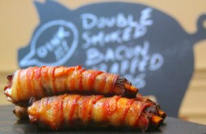 Bacon-wrapped ribs