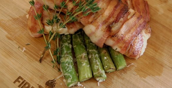 Bacon-wrapped Chicken with Fried Asparagus