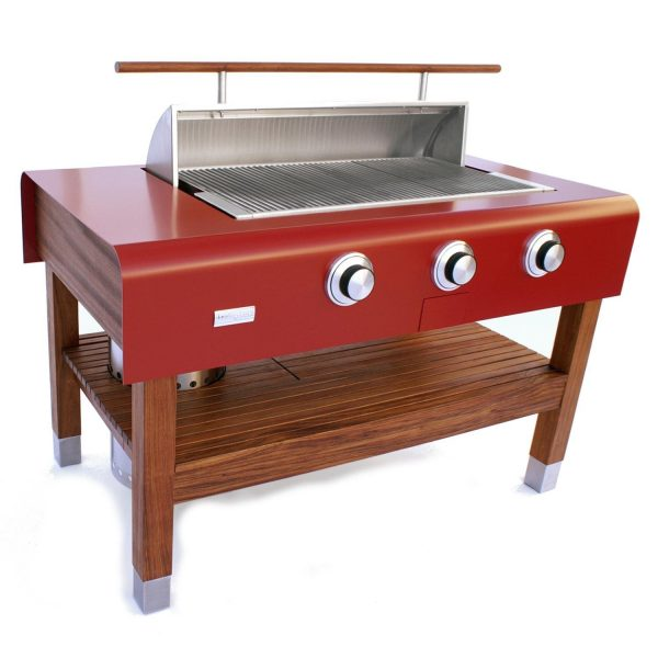 The 60-inch Freestanding RED Wood-Table Grill (Natural Gas) is the First Social Grill - True 360 degree grill encourages everyone to gather around to enjoy food & conversation.