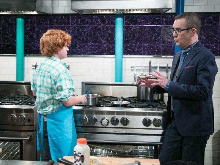 Jacob Scott talks with host Ted Allen on the set of Food Network's Chopped Junior: Make Me a Judge.