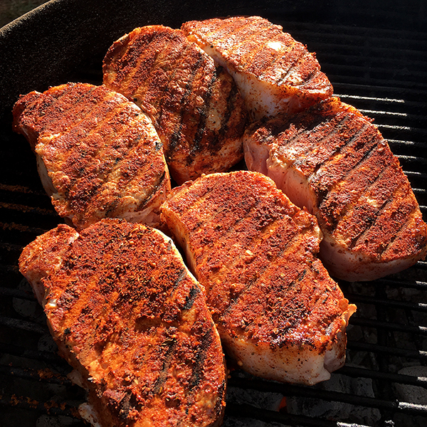 With a two-zone, medium heat fire, sear both sides of chop for no more than three minutes.