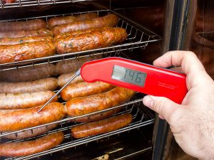 Stay safe by checking the temps of your Super Bowl Sausages with a Thermapen MK4. Photo via theblackpeppercorn.com