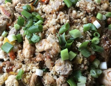 Whole30 Chicken Fried Rice in a FireDisc Shallow 24.