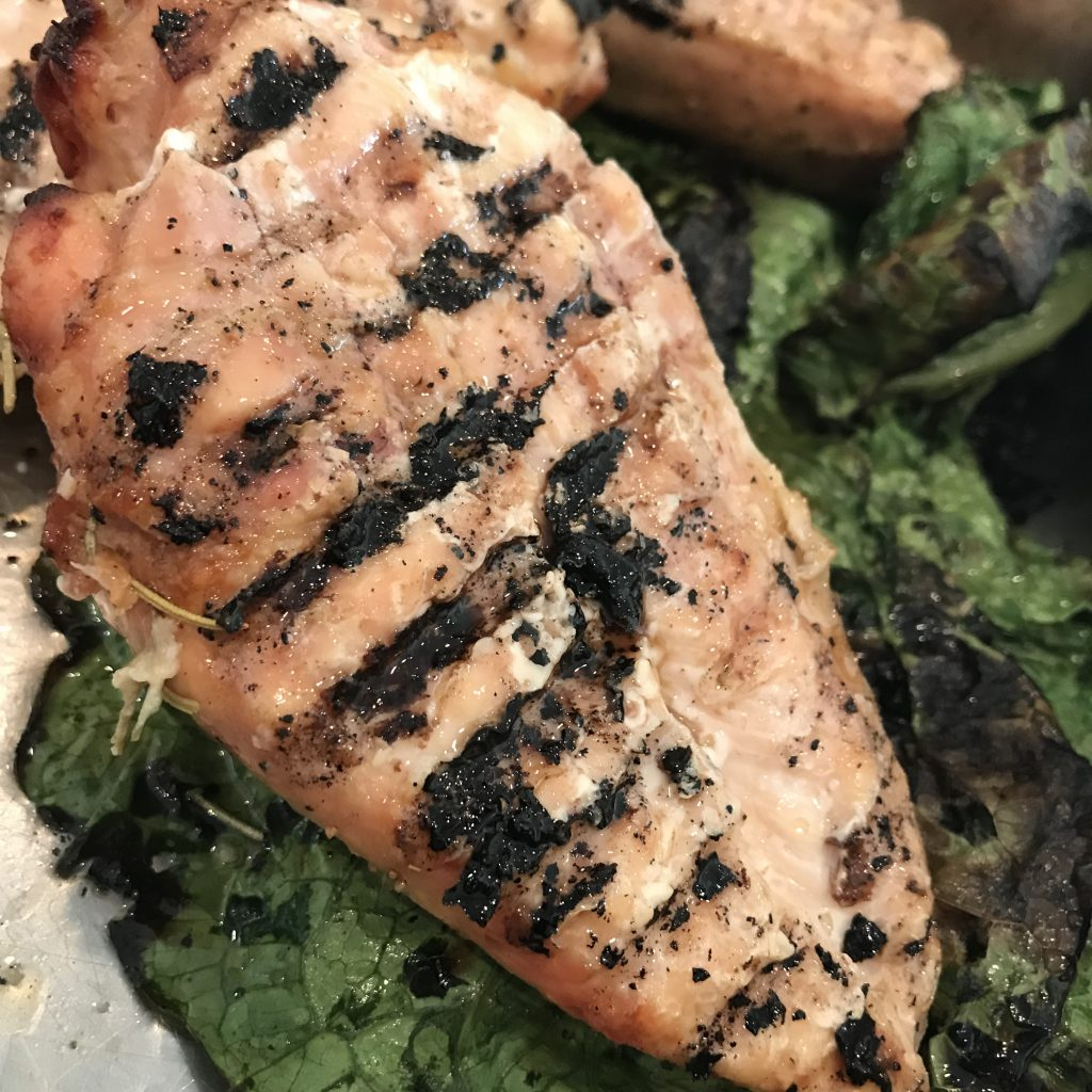 Gtilled Chicken with Seared Romaine