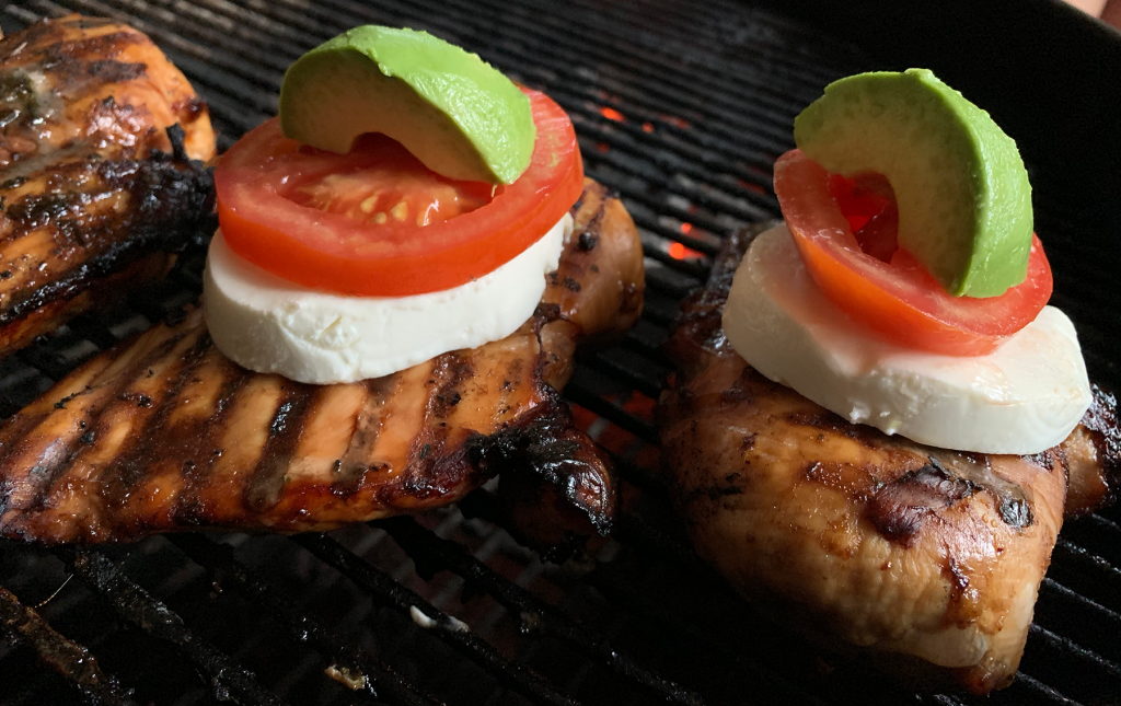 Caprese Chicken with mozzarella, tomato and avocado