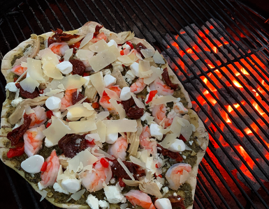 Grillax Pesto Pizza with Urban Slicer Outdoor Grilling Dough